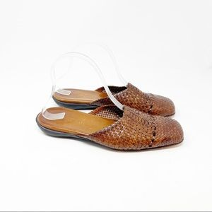 MEUCCI Women's Brown Woven Leather Mules Slides Shoes Square Toe Size 9